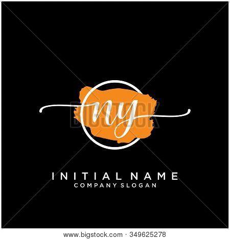 Ny Initial Handwriting Logo Design With Brush Circle. Logo For Fashion,photography, Wedding, Beauty,