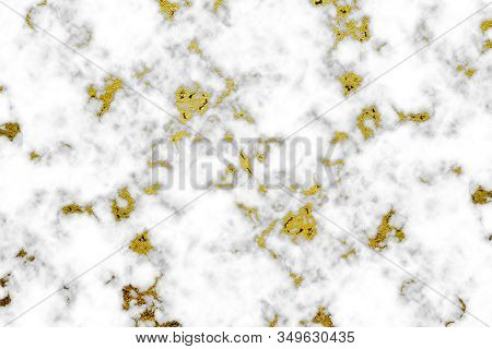 Texture White Marble With Gold Inlay. Background