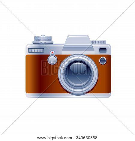 Vintage Photo Camera Icon. Cartoon Retro Camera, Photographer Symbol. 3d Realistic Vector Illustrati