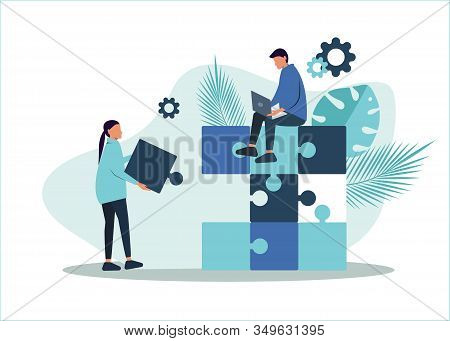 Business teamwork concept. Team metaphor. Business teamwork people connecting puzzle elements. Vector teamwork business illustration, business flat design style. Symbol of teamwork, business, cooperation, partnership.