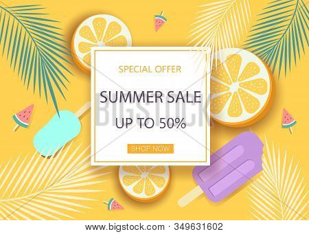 Summer background. Super sale summer banner with symbols for summer time such as oranges, ice-cream.Vector summer illustration of discount template card, summer wallpaper, summer flyer, summer invitation, summer poster, summer brochure, voucher.