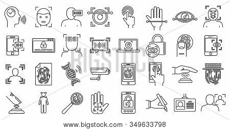Modern Biometric Authentication Icons Set. Outline Set Of Modern Biometric Authentication Vector Ico