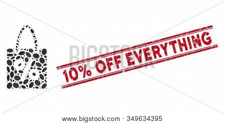 Mosaic Shopping Discount Icon And Rubber Stamp Seal With Red 10 Percent Off Everything Phrase Betwee