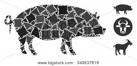 Glossy White Mesh Swine With Sparkle Effect. Abstract Illuminated Model Of Swine. Shiny Wire Carcass