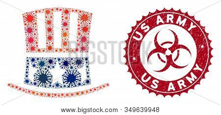 Coronavirus Mosaic Uncle Sam Hat Icon And Rounded Rubber Stamp Watermark With Us Army Text. Mosaic V