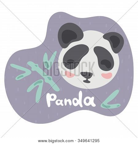 A Little Panda Eats A Bamboo And Smiles. Kid Panda In Flat Style. Text Panda In Violet Speech Bubble