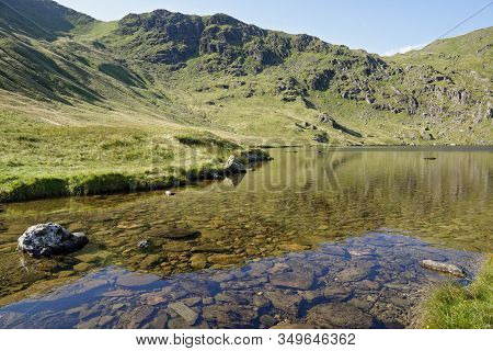 Small Water Crag & Small Water With Nan Bield Pass (right) Above Mardale Head, Haweswater