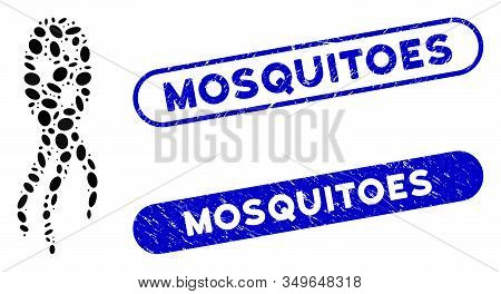 Mosaic Microorganism And Distressed Stamp Seals With Mosquitoes Caption. Mosaic Vector Microorganism