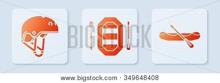 Set Rafting Boat, Helmet And Rafting Boat. White Square Button. Vector