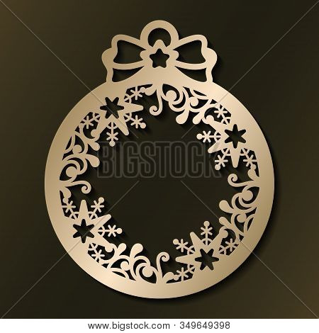 Laser Cut Template Of Christmas Ball With Snowflakes And Pattern. Xmas Tree Decoration For Paper Cut