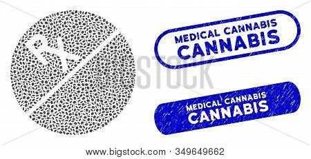 Mosaic Medication Tablet And Distressed Stamp Seals With Medical Cannabis Text. Mosaic Vector Medica
