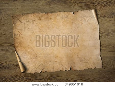 Old treasure map on wood table 3d illustration