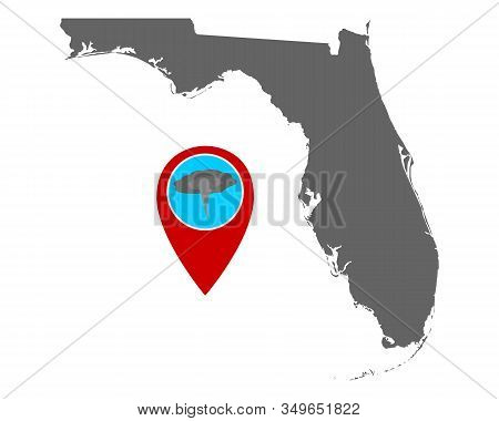 Detailed And Accurate Illustration Of Map Of Florida And Pin Tornado Warning