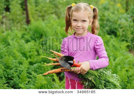 Girl Working In The Garden