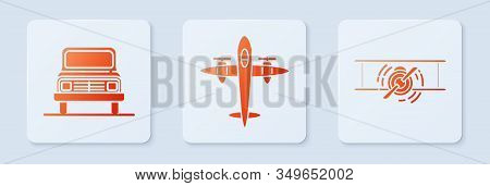 Set Old Retro Vintage Plane, Car And Old Retro Vintage Plane. White Square Button. Vector