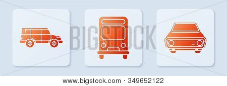 Set Bus, Off Road Car And Car. White Square Button. Vector