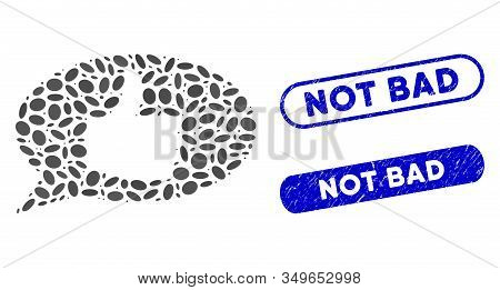 Mosaic Thumb Up Message And Grunge Stamp Seals With Not Bad Text. Mosaic Vector Thumb Up Message Is