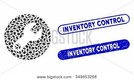 Mosaic Wrench And Corroded Stamp Seals With Inventory Control Caption. Mosaic Vector Wrench Is Creat