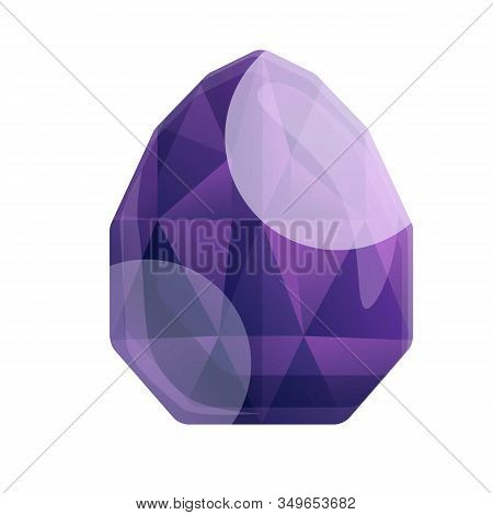 Violet Gemstone Icon. Cartoon Of Violet Gemstone Vector Icon For Web Design Isolated On White Backgr