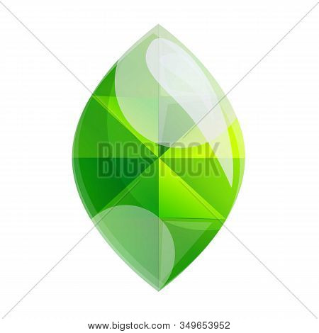 Green Gem Icon. Cartoon Of Green Gem Vector Icon For Web Design Isolated On White Background