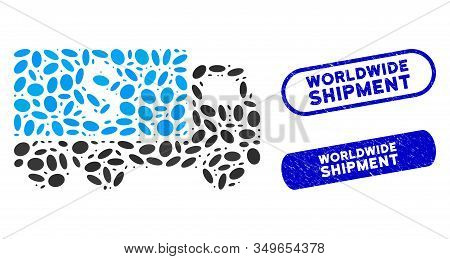 Mosaic Money Delivery And Corroded Stamp Seals With Worldwide Shipment Text. Mosaic Vector Money Del