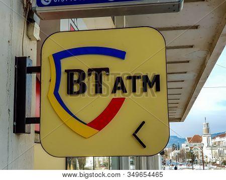 Miercurea Ciuc, Romania- 08 February 2020: Banca Transilvania Atm Street Sign.