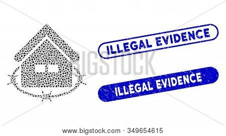 Mosaic Prison Building And Corroded Stamp Watermarks With Illegal Evidence Text. Mosaic Vector Priso