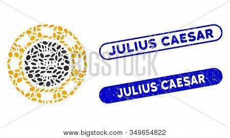 Mosaic Royal Casino Chip And Grunge Stamp Seals With Julius Caesar Phrase. Mosaic Vector Royal Casin