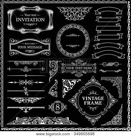 Design Elements Set, Decorative Flourish Border Corner And Frame Collection For Invitation, Menu And