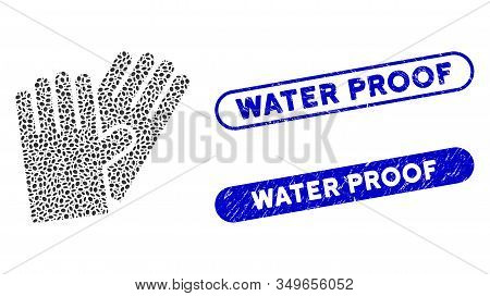 Collage Rubber Gloves And Distressed Stamp Seals With Water Proof Phrase. Mosaic Vector Rubber Glove
