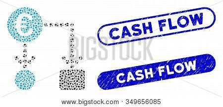 Mosaic Euro Flow Chart And Rubber Stamp Seals With Cash Flow Phrase. Mosaic Vector Euro Flow Chart I
