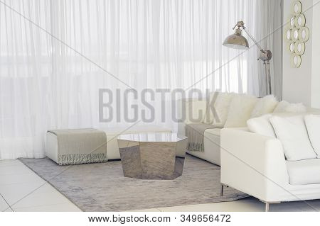 White Concept Living Room Interior. Interior Of The Living Room Of The Hotel. Beautiful Living Room
