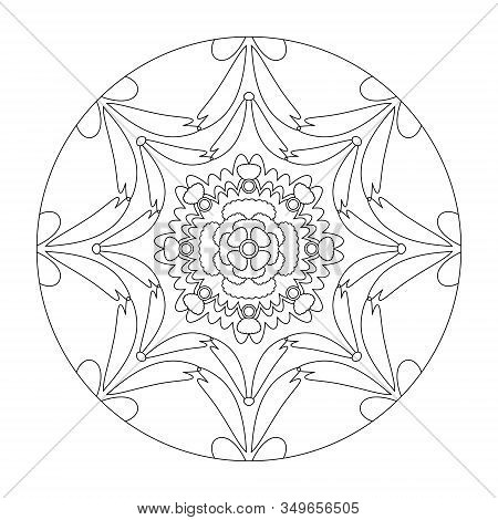 Mandala Coloring Page. Stretched Effect. Illustration Vector. Art Therapy. Decorative Element.