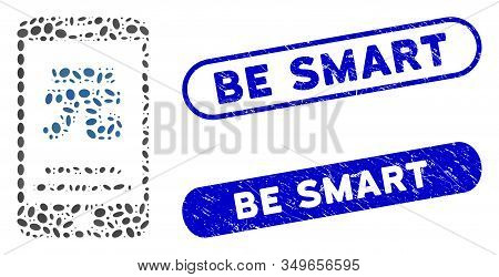 Mosaic Yuan Mobile Payment And Rubber Stamp Seals With Be Smart Text. Mosaic Vector Yuan Mobile Paym