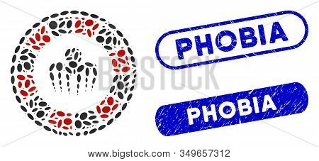 Mosaic Spectre Casino And Distressed Stamp Watermarks With Phobia Caption. Mosaic Vector Spectre Cas