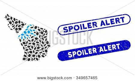 Collage Megaphone Impact Head And Distressed Stamp Seals With Spoiler Alert Text. Mosaic Vector Mega