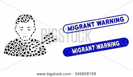 Mosaic Target Man And Distressed Stamp Seals With Migrant Warning Text. Mosaic Vector Target Man Is