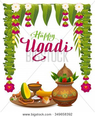 Happy Ugadi Indian New Year Holiday. Text Lettering Greeting Card. Traditional Holiday Food Mango, S