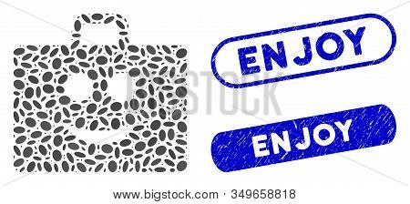 Mosaic Glad Case And Corroded Stamp Seals With Enjoy Phrase. Mosaic Vector Glad Case Is Designed Wit