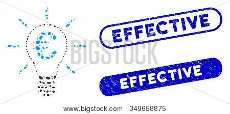 Mosaic Euro Idea Bulb And Corroded Stamp Seals With Effective Phrase. Mosaic Vector Euro Idea Bulb I