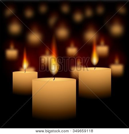 Candles Glowing In Dark Abstract Realistic Vector Background For Web And Print, With Warm Lights And