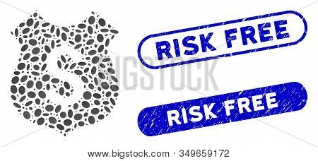 Mosaic Financial Shield And Grunge Stamp Seals With Risk Free Phrase. Mosaic Vector Financial Shield
