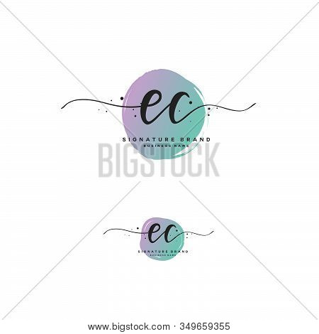 E C Ec Initial Letter Handwriting And  Signature Logo. A Concept Handwriting Initial Logo With Templ