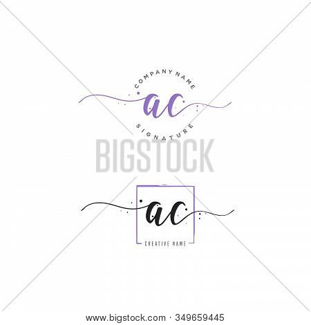 A C Ac Initial Letter Handwriting And  Signature Logo. A Concept Handwriting Initial Logo With Templ