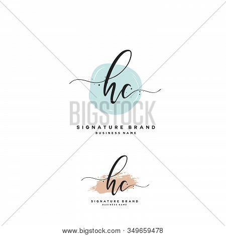 H C Hc Initial Letter Handwriting And  Signature Logo. A Concept Handwriting Initial Logo With Templ