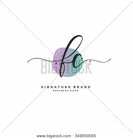 F C Fc Initial Letter Handwriting And  Signature Logo. A Concept Handwriting Initial Logo With Templ