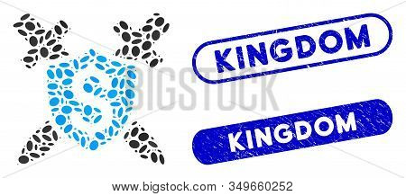 Mosaic Financial Shield And Grunge Stamp Seals With Kingdom Phrase. Mosaic Vector Financial Shield I