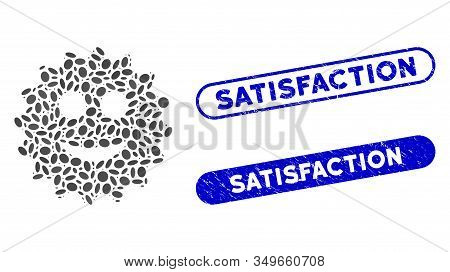 Mosaic Glad Sticker And Grunge Stamp Seals With Satisfaction Phrase. Mosaic Vector Glad Sticker Is F
