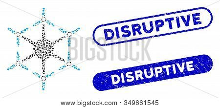 Mosaic Hexacopter And Grunge Stamp Seals With Disruptive Caption. Mosaic Vector Hexacopter Is Create