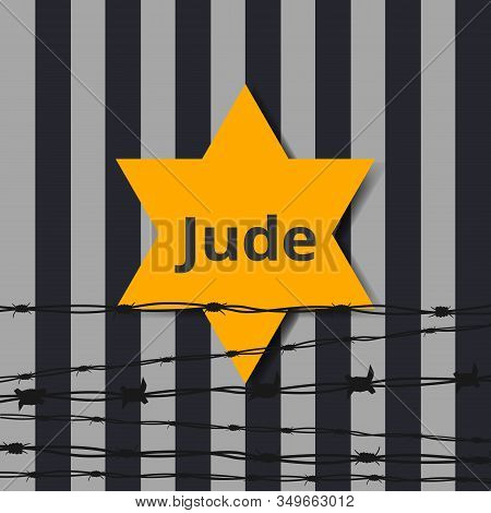 Jewish Star With Barbed Wire And One Candle, International Holocaust Remembrance Day Poster, January